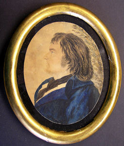 A rare miniature portrait of Captain Frederick Lee painted by Revolutionary War hero Tadeusz Kosciuszko. This is the only contemporary illustration of a cutter captain known to exist. Image courtesy of Henry Whitfield State Museum, Guilford, Conn