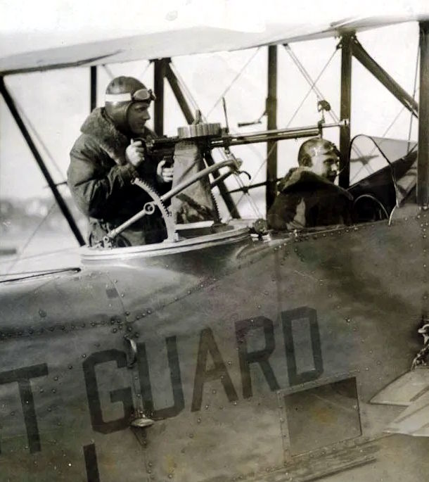 Close-up of an OL-5 cockpit with an air-cooled machine gun mounted aft for aerial use of force and law enforcement interdiction in 1926. (U.S. Coast Guard)