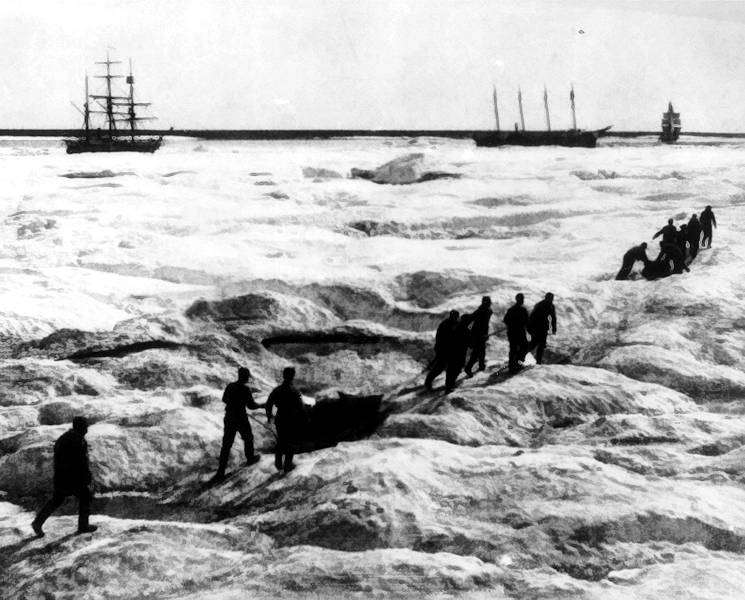 Coast Guard Overland Relief Expedition approaches whalers trapped in the Arctic ice in 1897. (U.S. Coast Guard courtesy photo)