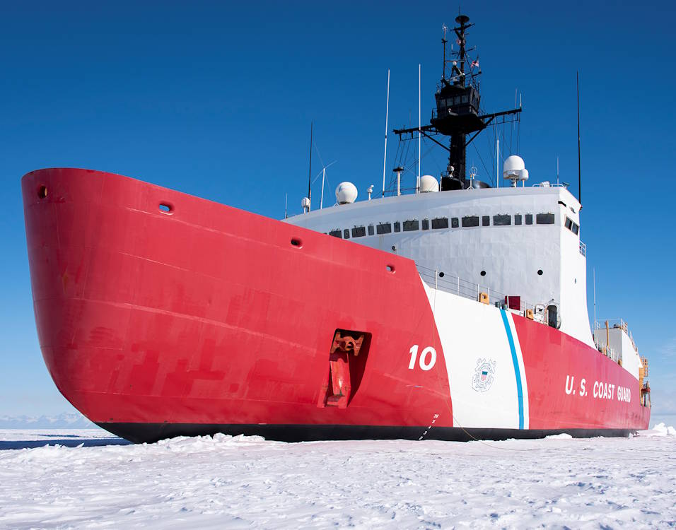 January 2, 2020 - The Coast Guard Cutter Polar Star (WAGB-10) is in the fast Ice approximately 20 miles north of McMurdo Station, Antarctica. The 399-foot icebreaker is the only ship in U.S. service capable of clearing a path through the Antarctic ice to escort three refuel and resupply ships to McMurdo Station during Operation Deep Freeze. The ships deliver enough cargo and fuel to sustain year-round operations on the remote continent. (U.S. Coast Guard photograph by Senior Chief Petty Officer NyxoLyno Cangemi)