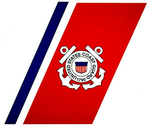 The final version of the Coast Guard Racing Stripe whose colors, size and angle were specified by the Loewy-Snaith design firm for use by the service. (Coast Guard Collection)
