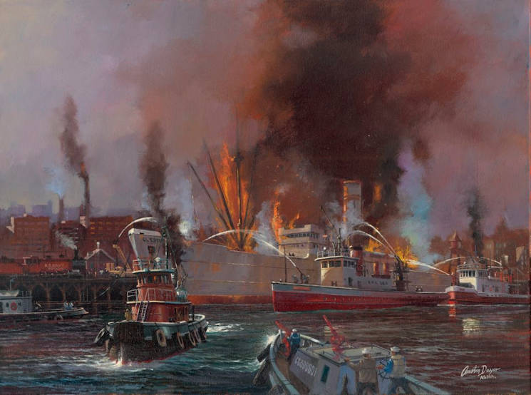 Rendering of the S.S. El Estero fire painted by noted marine artist Austin Dwyer. Photo courtesy of Austin Dwyer. (Image courtesy of U.S. Coast Guard photo)