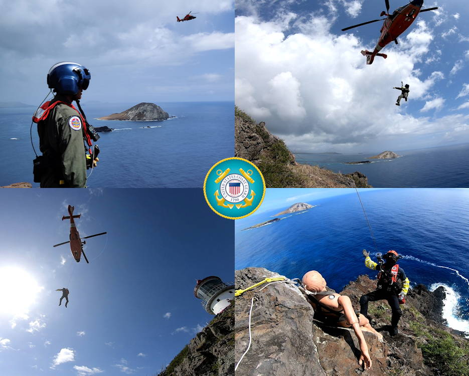 August 7, 2019 - An Air Station Barbers Point MH-65 Dolphin Helicopter crew conducts vertical surface rescue training off the cliffs near Makapu'u Lighthouse, Hawaii. The cliffs provide a challenging and realistic environment for the crews to prepare for possible incidents in the future. (Image created by USA Patriotism! from U.S. Coast Guard photos by Petty Officer 1st Class Robin Pietschmann)