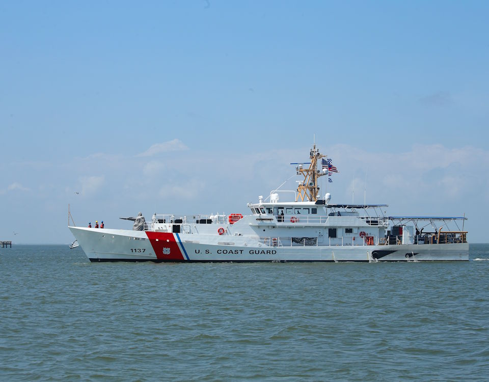 March 23, 2020 - The Coast Guard Cutter Edgar Culbertson sails into port in Galveston, Texas. It is the Coast Guard's 37th fast response cutter that is designed to perform search and rescue missions, port security, and the interception of smugglers. (Image created by USA Patriotism! from U.S. Coast Guard photo by Petty Officer 3rd Class Paige Hause)
