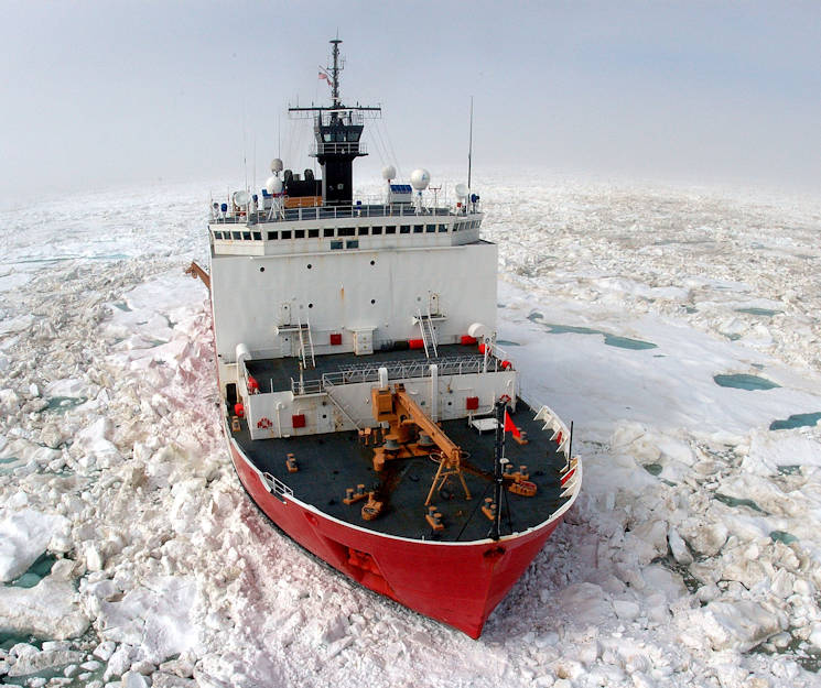 The U.S. Coast Guard Cutter Healy, a 420 ft. icebreaker, breaks ice in support of scientific research in the Arctic Ocean during 2006. (U.S. Coast Guard photo by Petty Officer Prentice Danner)