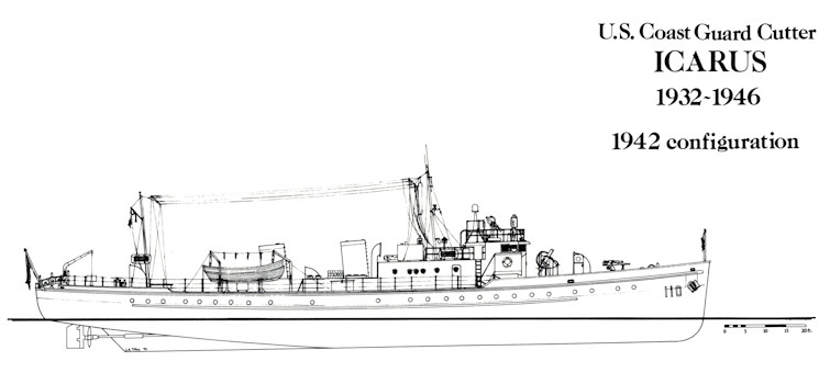 U.S. Coast Guard Cutter Icarus 1942 configuration profile (U.S. Coast Guard courtesy image)