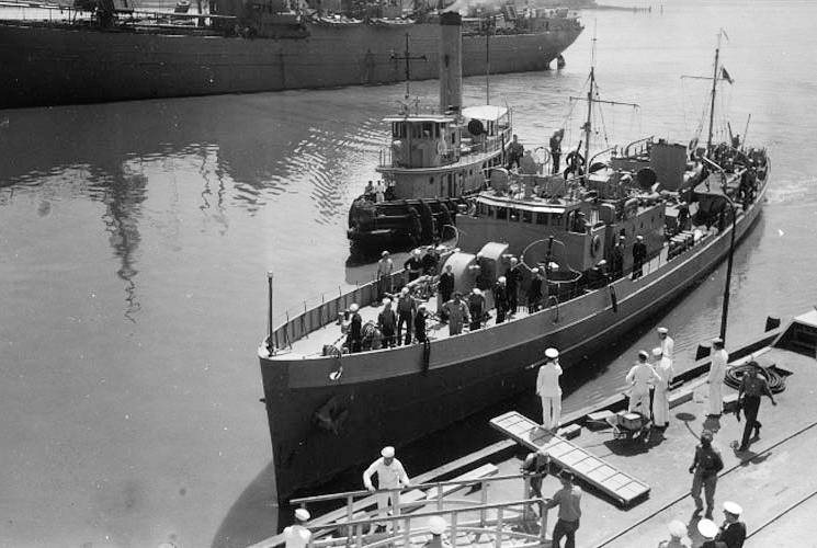 U.S. Coast Guard Cutter Icarus disembarking U-352 crew members at the Charleston Navy Yard in Charleston, South Carolina in 1942. (U.S. Coast Guard courtesy photo)