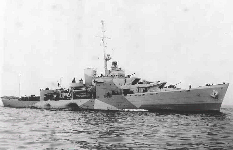 """Queen of the Fleet"" U.S. Coast Guard Cutter Campbell in camouflage paint scheme early in the war. (U.S. Coast Guard courtesy photo)"