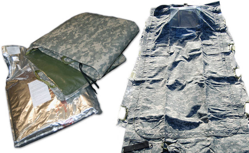 Used to protect uncontaminated or decontaminated patients from chemical agent exposure during movement through a contaminated area, the chem wrap is one component in the U.S. arsenal to combat threats from CBRN agents. An improved version of the chem wrap, first developed in the 1990s, is being produced at Pine Bluff Arsenal, Arkansas. (Image courtesy of USAMMDA Public Affairs)