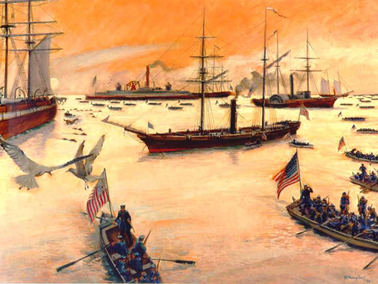 Painting of Revenue Cutter Miami covering troop landings at Ocean View Beach near Norfolk, Virginia, by Charles Mazoujian. (U.S. Coast Guard Collection)