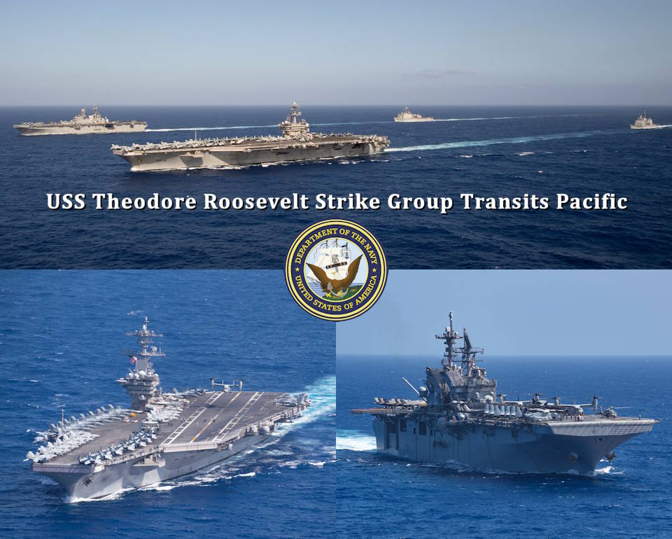 February 15, 2020 - The USS Theodore Roosevelt carrier strike group transits the Pacific Ocean. Top - The aircraft carrier USS Theodore Roosevelt (CVN 71) is the lead ship (bottom left) closely followed on its starboard by the amphibious assault ship USS America (LHA 6) with the guided-missile cruiser USS Bunker Hill (CG 52) following behind CVN 71, and the amphibious dock landing ship USS German Town (LSD 42) behind LHA 6. Bottom - CVN 71 is on the left and LHA 6 is on the right. (Image created by USA Patriotism! from U.S. Navy photos by Mass Communication Specialist 2nd Class Anthony J. Rivera and Mass Communication Specialist Seaman Dylan Lavin)