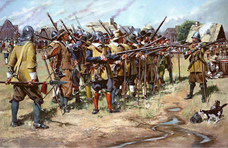 """First Muster"", a National Guard Heritage Painting by Don Troiani is courtesy the National Guard Bureau ... and reflects what has become the proud history of the National Guard that began on December 13, 1636 ... when the General Court of the Massachusetts Bay Colony ordered the organization of the colony's militia companies into three regiments: the North, South and East Regiments. The colonists had adopted the English militia system which obligated all males, between the ages of 16 and 60, to possess arms and participate in the defense of the community."