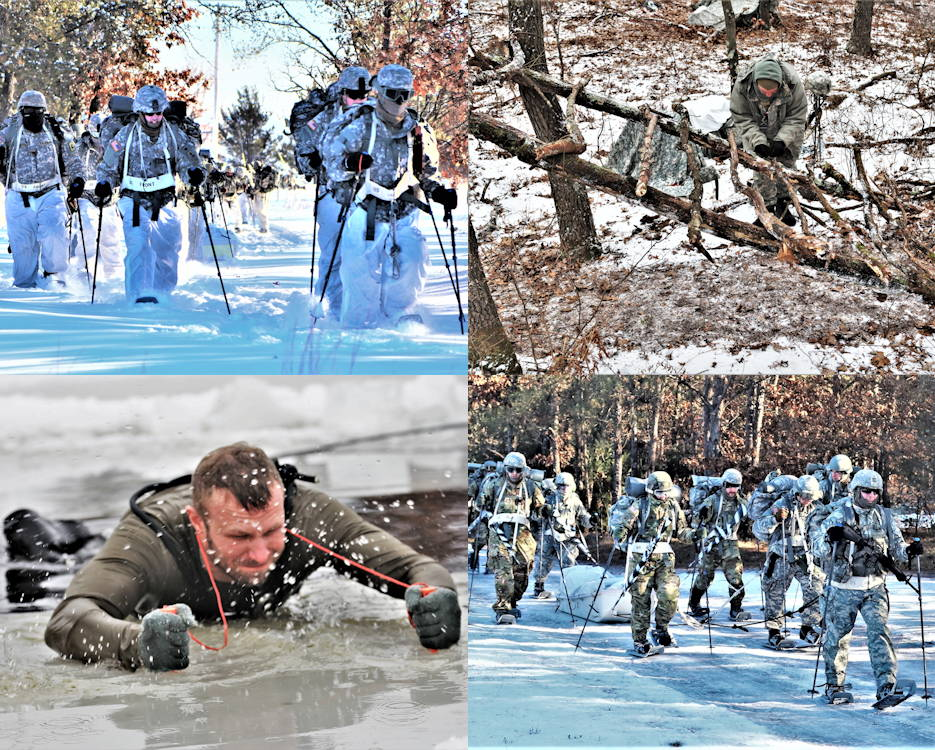 Scenes of students who took part in a 14-day Cold-Weather Operations Course (CWOC) training session during the 2018-19 winter training season at Fort McCoy. Over 220 students took part in the six session training sessions. (Image created by USA Patriotism! from U.S. Army photos by Scott Sturkol, Public Affairs Office, Fort McCoy)