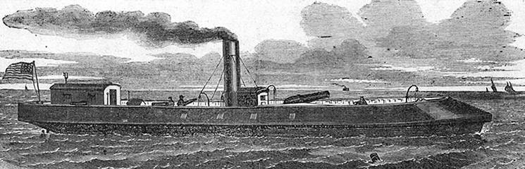 """The Stevens Iron Steam Gun-Boat Naugatuck (previously named Gunboat Cutter E.A. Stevens), now at Fortress Monroe."" Illustration from Harper's Weekly, 1862. Image courtesy of the Naval History & Heritage Command"