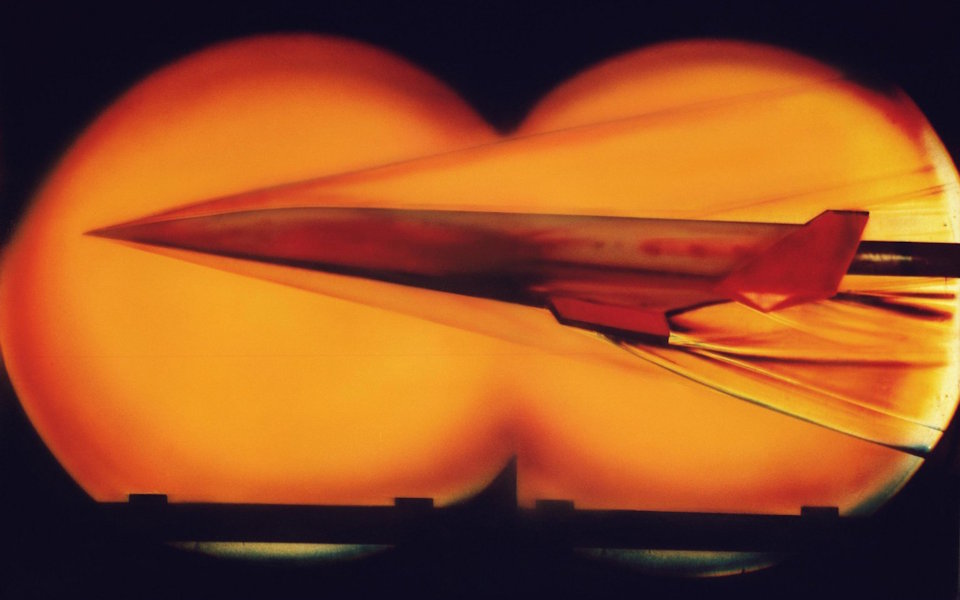A model of a hypersonic vehicle is tested in a wind tunnel at NASA's Langley Research Center, Maryland on December, 10, 2009. (Photo by NASA's Langley Research Center)