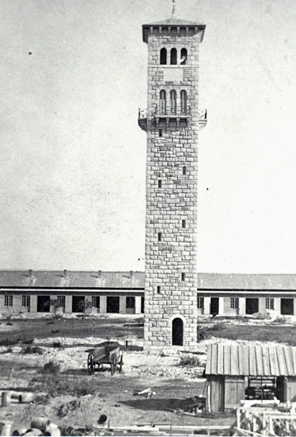 The completed water and watch tower in 1877 before the addition of the clock at the Quadrangle at present-day Joint Base San Antonio-Fort Sam Houston. (U.S. Army courtesy photo)