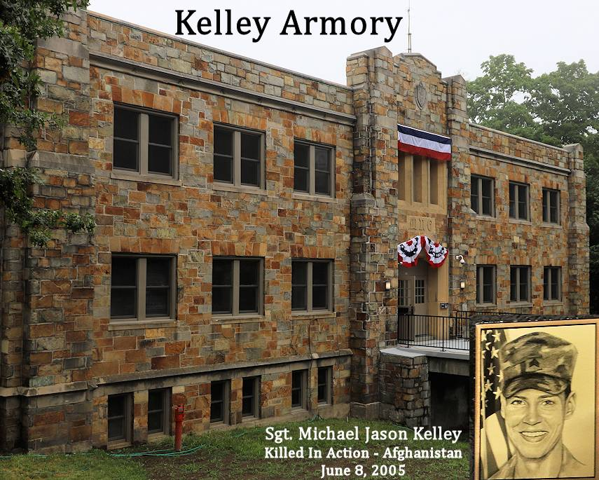 Remodeled National Guard armory is named for fallen Massachusetts National Guard soldier Sgt. Michael J. Kelley of Battery E., 101st Field Artillery Regiment on August 12, 2018. Sgt. Kelley, of Scituate, Massachusetts, was killed in action on June 8, 2005 at Camp Salerno, Shkin Province, Afghanistan, when Camp Salerno came under heavy fire during what was one of the harshest battles of the early stages of Operation Enduring Freedom. (Image created by USA Patriotism! from Massachusetts National Guard photos by Sgt. 1st Class Laura Berry)