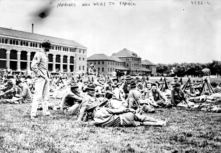 Marines take a break at the Philadelphia Marine Barracks before readying to board ships for France in 1917. (Photo provided by Library of Congress)