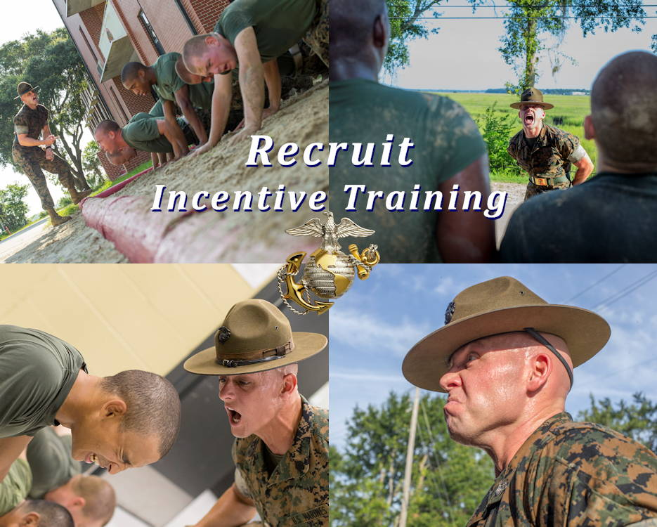 July 8, 2019 - Drill Instructors conduct incentive training with recruits from Charlie Company, 1st Recruit Training Battalion on Marine Corps Recruit Depot Parris Island, South Carolina. Incentive training is used by drill instructors to correct recruit's deficiencies and establish discipline. (Image created by USA Patriotism! from U.S. Marine Corps photo by Lance Cpl. Ryan Hageali)