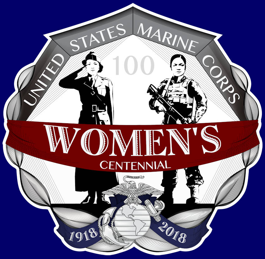 The United States Marine Corps celebrates one-hundred years of women Marines serving from 1918 to 2018. The logo design depicts two women, past and present, proudly serving as a United States Marine commemorating this centennial. The contained graphic is an approved trademark of the United States Marine Corps. (Image created by USA Patriotism! from United States Marine Corps graphic by Garrett E. Hothan - May 2018)