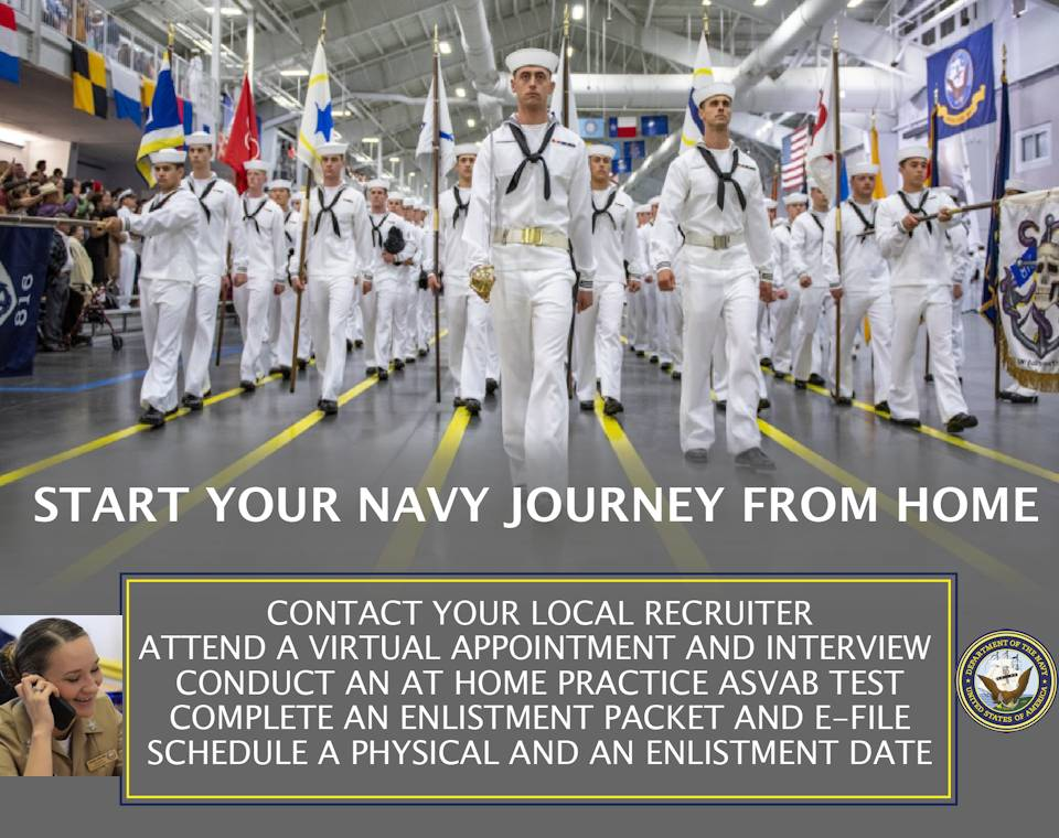 March 31, 2020 - It's common to have questions about everything from qualifications and life in the Navy, to benefits and career options. You can even do so ... virtually, electronically or on line if you desire. A recruiter will answer all your questions and explain career and education opportunities. (Image created by USA Patriotism! from U.S. Navy graphics by Mass Communication Specialist 1st Class Holly L. Herline)
