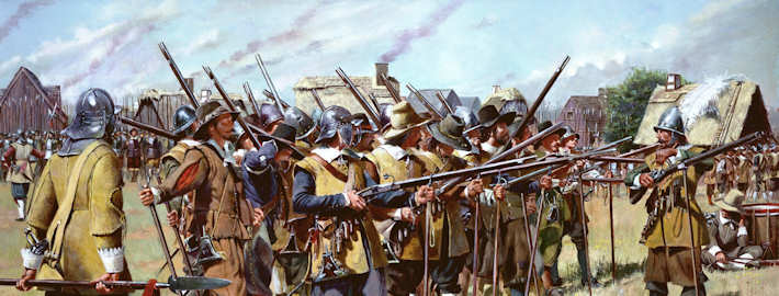 This illustration depicts the first muster of Massachusetts Bay Colony militia in the spring of 1637. This event took place after the Massachusetts General Court on Dec. 13, 1636 established three regiments within the colony to defend against enemy attack and preserve settlements. National Guard Bureau Illustration.