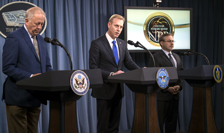 Deputy Defense Secretary Patrick M. Shanahan, center, Undersecretary of State for Political Affairs Thomas A. Shannon Jr., left, and Deputy Energy Secretary Dan Brouillette brief the press on the 2018 Nuclear Posture Review at the Pentagon, February 2, 2018. (DoD photo by Navy Petty Officer 1st Class Kathryn E. Holm)