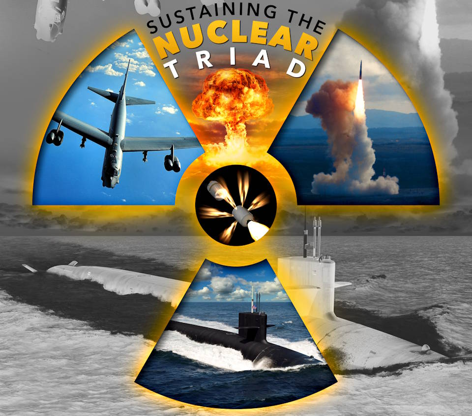 Sustaining the Nuclear Triad image created by USA Patriotism! from the original graphic created by U.S. Air Force Kent Bingham, 75th Air Base Wing Public Affairs.