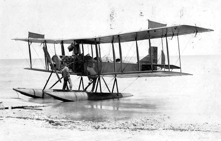 One of Chatham's Curtiss R-9 float planes on the beach. This may have been the aircraft flown by Eaton to attack German submarine U-156. (Courtesy of the San Diego Air & Space Museum)