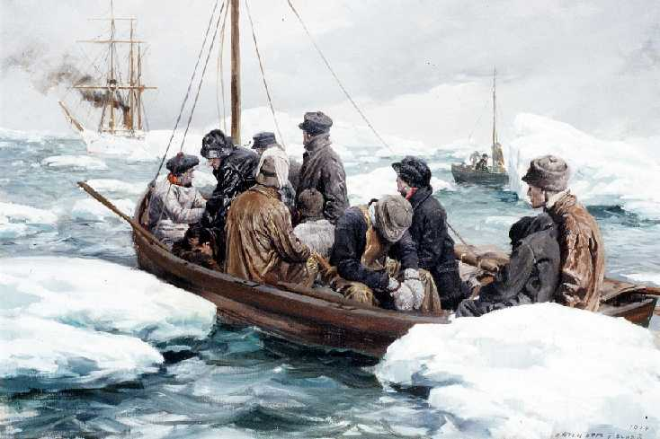Painting showing Cutter Bear crew in one of its small boats rescuing shipwrecked whalers in 1897. (U.S. Coast Guard courtesy photo)