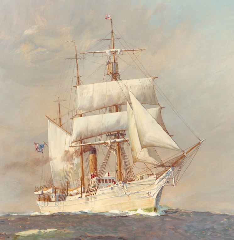 Painting of U.S. Revenue Cutter Service Bear, built in 1874, under sail and steam on the Bering Sea Patrol sometime during the 1880s. (U.S. Coast Guard courtesy image)
