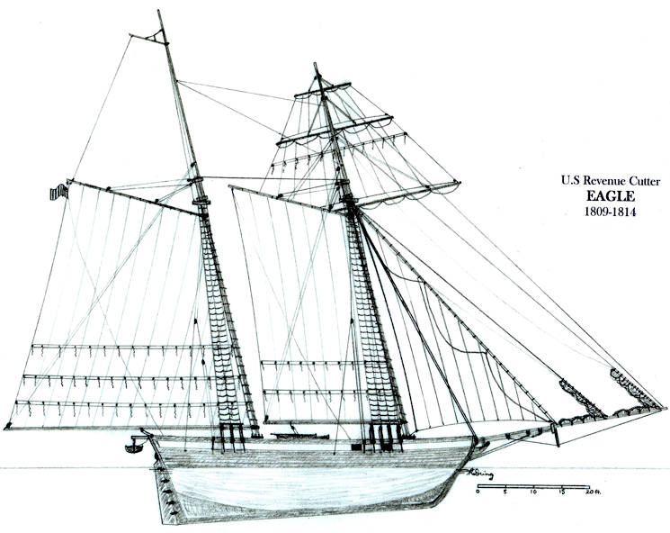 A profile view of the War of 1812 Revenue Cutter Eagle, showing hull lines and sail rig. Coast Guard Collection. (U.S. Coast Guard courtesy photo)