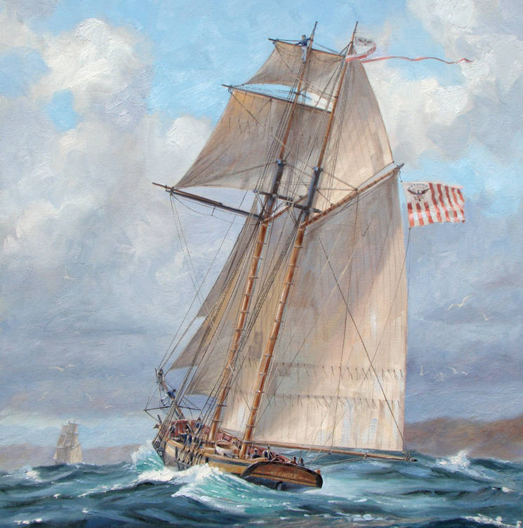 Painting of Cutter Eagle on patrol in Long Island Sound during War of 1812 by marine artist Patrick O'Brien. (U.S. Coast Guard courtesy photo)