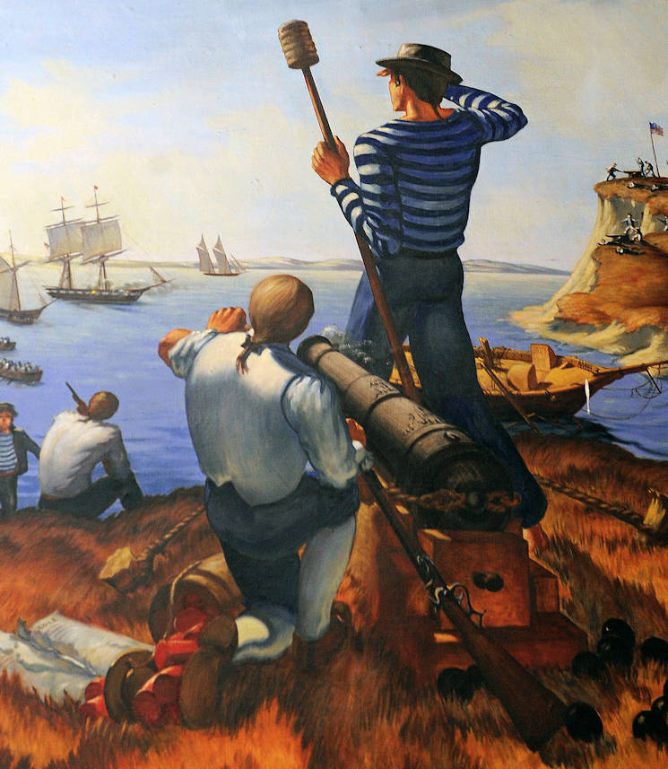 Painted by Aldis Browne, this mural image in the Henriques Room of the Coast Guard Academy's Chase Hall depicts the heroic battle for Cutter Eagle by Capt. Frederick Lee, his crew and militia forces during The War of 1812. (U.S. Coast Guard courtesy photo)