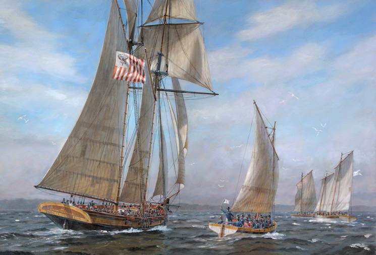 """Revenue Cutter Thomas Jefferson Captures Three Royal Navy Barges and Personnel in Hampton Roads, 11 April 1813."" (Image of artist Patrick O'Brien's painting courtesy of U.S. Coast Guard)"
