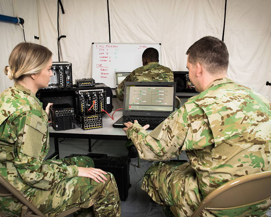 In this staged photo, a command post using Pacific Star's secure communications modules would look like for Soldiers in a deployed environment. (Photo courtesy of Pacific Star Communications Inc. - October 2016)