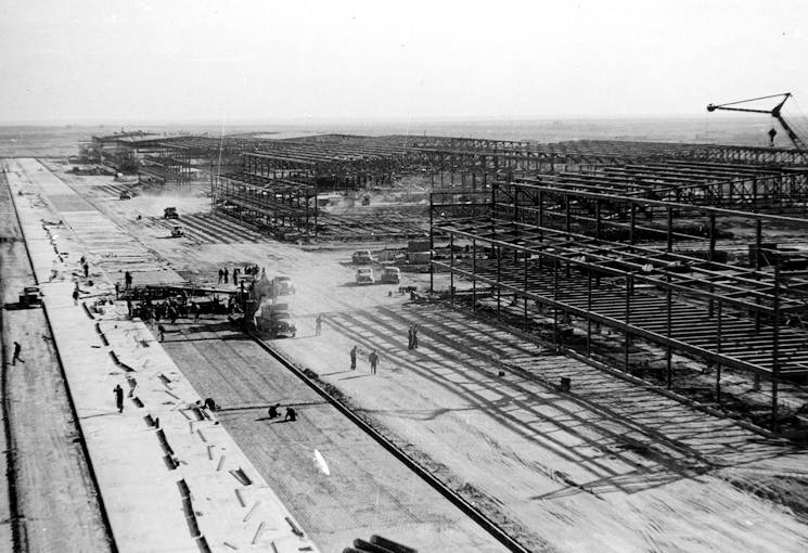 Sheppard Air Force Base's airfield and hangars are shown under construction in 1941. Some of these hangars are still in daily use today, housing crew chief technical training courses for various fighter and heavy aircraft. (U.S. Air Force courrtesy photo)