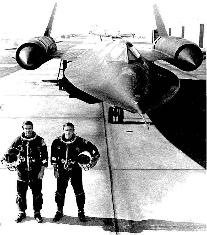 Maj. George Morgan, an SR-71 reconnaissance systems operator, and Capt. Eldon Joersz, an SR-71 Pilot, pose for a picture, Aug. 29, 1975 at Beale Air Force Base, California.These two Airmen set the official air speed record for a manned air breathing jet engine aircraft with a speed of 2,193 mph on July 28, 1976. (U.S. Air Force photo)