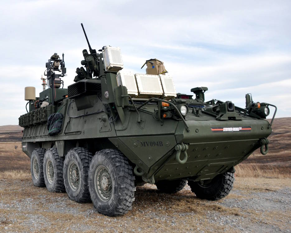 The U.S. Army is fast-tracking directed-energy systems, awarding a contract to accelerate its first combat-capable laser system, the Multi-Mission High Energy Laser (MMHEL) prototype. Here, a Stryker Mobile Expeditionary High Energy Laser (MEHEL), an earlier technology that provided risk reduction for the MMHEL, participates in the Maneuver Fires Integrated Experiment on December 10, 2014 at Fort Sill, Oklahoma. (U.S. Army photo by Monica K. Guthrie, Fort Sill Public Affairs)