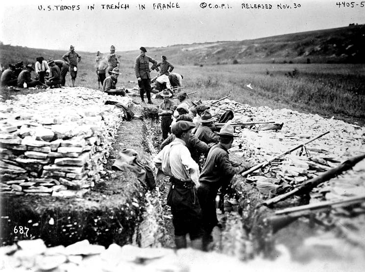American troops conduct grenade gun training in France during World War I. (Photo provided by Library of Congress)