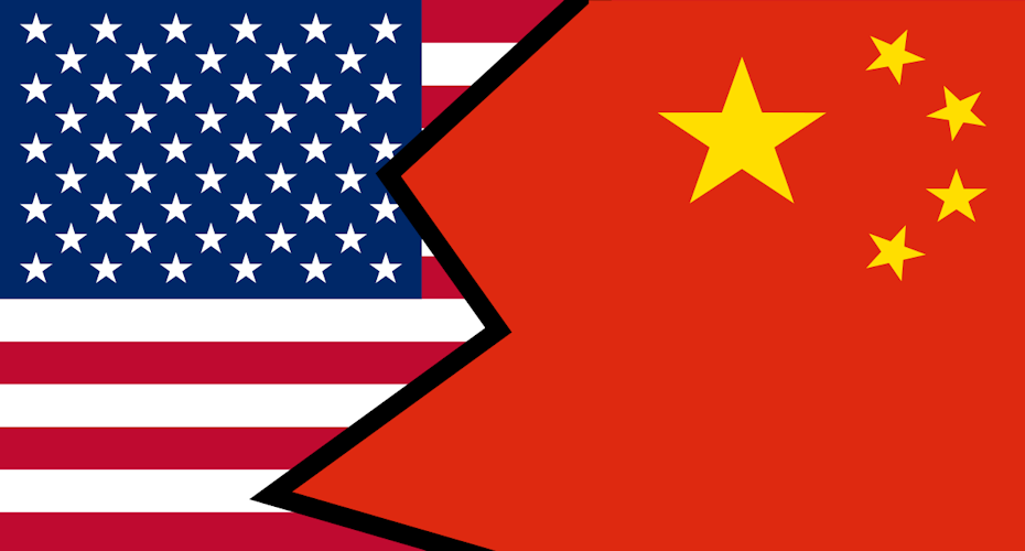 U.S. Flag and China Flag - Entwined