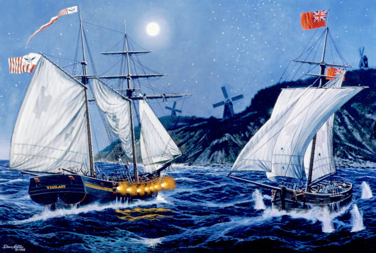 U.S. Cutter Vigilant attacks and captures the enemy British privateer Dart off the shores of Block Island, Rhode Island on October 4, 1813. (U.S. Coast Guard courtesy photo)