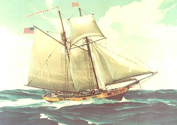 Painting of the Revenue Cutter Massachusetts. Although the Revenue Cutter Vigilant was the first cutter to be launched, records concerning when it actually entered service were lost in the fire at the Treasury Department in 1833. Tradition has it that the cutter Massachusetts, launched in July 1791, was the first to actually enter service as a commissioned vessel of the U.S. government. (U.S. Coast Guard courtesy photo)