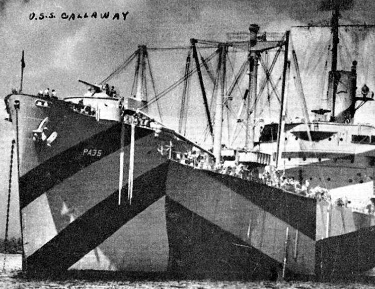 USS Callaway in camouflage paint scheme during World War II in 1944. (Photo courtesy of the U.S. Navy)