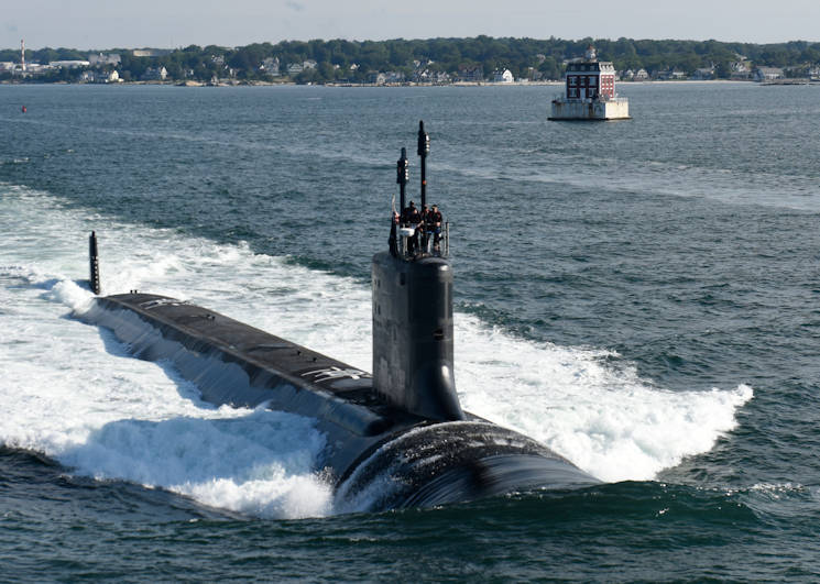 August 1, 2016 - The future Virginia-class attack submarine USS Illinois (SSN 786) conducts sea trials. Illinois is a flexible, multi-mission platform designed to carry out the seven core competencies of the submarine force: anti-submarine warfare; anti-surface warfare; delivery of special operations forces; strike warfare; irregular warfare; intelligence, surveillance and reconnaissance; and mine warfare. (U.S. Navy photo courtesy of General Dynamics Electric Boat)