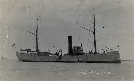 "Coast Guard cutter McCulloch, which received the coded message ""Plan One, Acknowledge"" on April 6, 1917, as did all Coast Guard units, stations and bases. Photo courtesy of National Oceanic and Atmospheric Administration)"