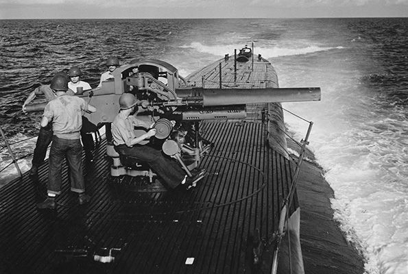 The submarine USS Sea Dog on war patrol in the Pacific in May 1945. (National Archives photo)