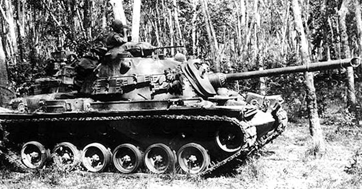 January 1, 1969 - A M48 Patton tank from 1st Squadron, 4th Cavalry Regiment, 1st Brigade, 1st Infantry Division conducts a patrol while serving in Vietnam. (Photo courtesy of the U.S. Army)