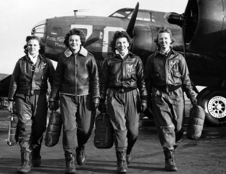 "Women Airforce Service Pilots, left to right, Frances Green, Margaret Kirchner, Ann Waldner and Blanche Osborn at Lockbourne Army Air Field, Ohio, 1944. These women pilots were some of the first to ferry B-17 ""Flying Fortress"" bombers. More than 1,000 WASP provided essential military air support in the United States during World War II. (U.S. Air Force courtesy photo)"