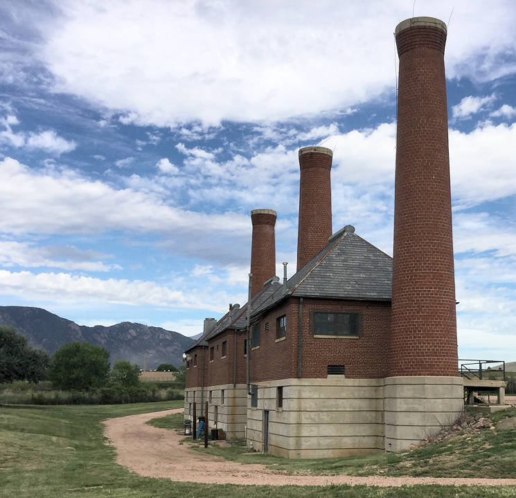 The World War II-era incinerator complex is now being used as a storage facility on U.S. Army Fort Carson. The complex is located near Gate 20 by the wastewater treatment facility. (Photo courtesy of U.S. Army Fort Carson Cultural Resources Program)